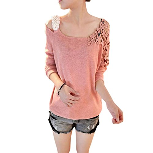 Aokdis Womens Long Sleeve Knitted Pullover Loose Sweater Knitwear (Xl, Pink)