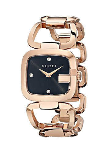 Gucci G-Gucci Collection Women's Quartz Watch with Black Dial set with 3 diamonds Analogue Display and Rose Gold PVD Case and Bracelet YA125409