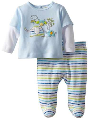 Absorba Baby-Boys Newborn 2 Piece Pant Set, Blue, 3-6 Months front-837168