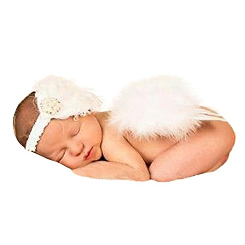 [Shien(TM)Baby Angel Feather Wings Wing Feather Photo Prop Girls Hair Accessories] (Newborn Angel Wings)