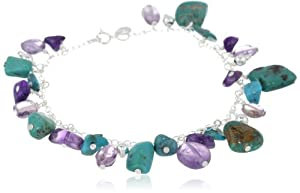 "Sterling Silver Bracelet with Turquoise, Amethyst and Sterling Silver Bead Drops, 7.5"" from Amazon Curated Collection"