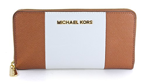 76e8e076c07a MICHAEL Michael Kors Womens Jet Set Travel ZA Continental Wallet,  Luggage/White/Black, One Size