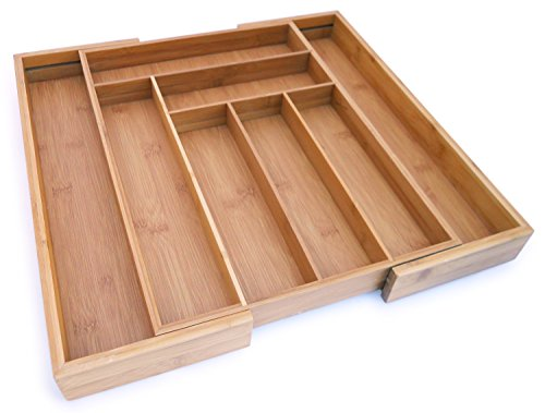 "Culina Bamboo Utensils Drawer. Expandable, 18"" x 12.75"" X 2"""