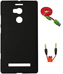 FCS Rubberised Hard Back Case For Gionee Elife E8 With 3.5mm 1 Meter AUX Cable And Wide Strip 1 Meter Data Cable