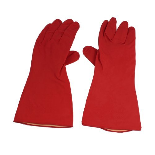 """Water & Wood Pair Household Assistant Nonslip Clean Wash Latex Rubber Gloves Red 11.8"""""""