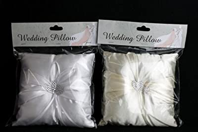 Ivorycreamwhite Wedding Ring Pillow 18cm X 18cm - Jewelled Heart Centre Gi5003 One Pillow Supplied from SIL