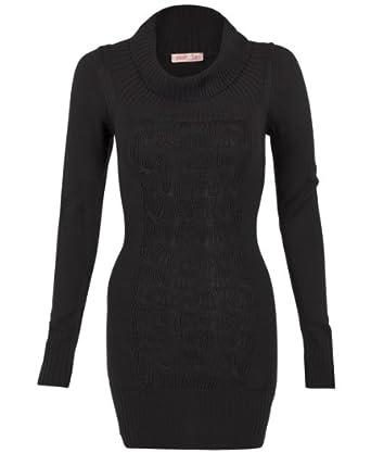 KRISP® Chunky Knitted Woollen Cowl Neck Ribbed Long Jumper Dress Top Sweater 3634 (Black,16)