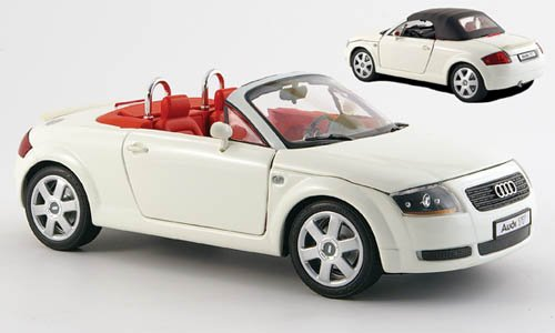 Audi-TT-Roadster-weiss-inklusive-Soft-Top-Modellauto-Fertigmodell-Revell-118