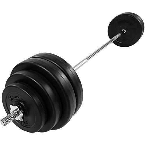 MOVIT® Langhantel Set 60,5 kg, Stange verchromt und gerendelt mit Sternverschlüssen, inkl. 8 Hantelscheiben, Hantelset Langhantelstange Gewichte Gewichtsscheiben Hantelscheiben