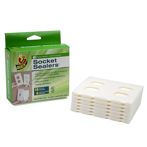 Duck Brand 1285359 Socket Sealers Variety Pack, 18 Outlet Sealers And 6 Switch Plates, White