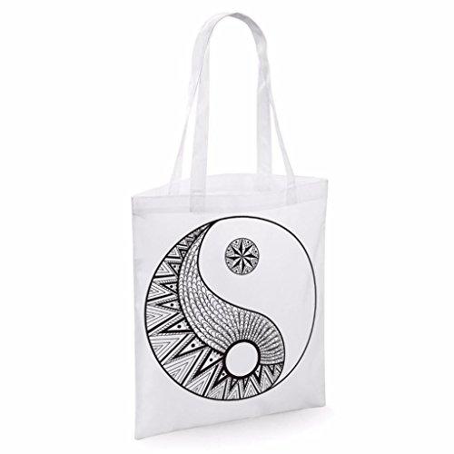 Tote bag pour femme Imprimé Yin & Yang imprimé sac épaule sacs en toile