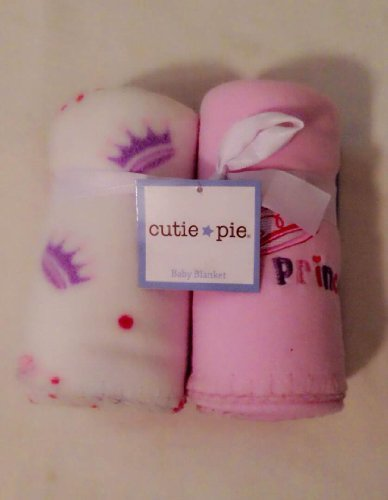 Princess Crown 2 Pack Fleece Baby Blanket - Pink - 1