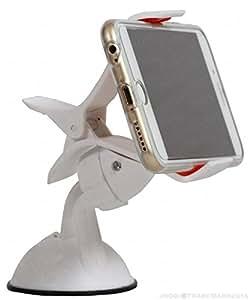 Jkobi Universal 360 Degree Rotating Car / Desk Mount Mobile Holder Windshield Mobile Phone Stand Compatible For Swipe Elite Plus -White