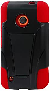 Reiko Silicon Case with Protector Cover for Nokia Lumia 530 - Retail Packaging - Red/Black