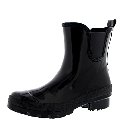 Womens Classic Chelsea Gloss Flat Garden Festival Welly Shoe Boots - 8 - BLA39 BL0137 (Garden Rain Boots compare prices)