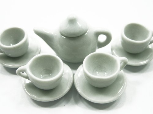 4/9 White Coffee Tea Cup Set Dollhouse Miniature Supply Ceramic #S Deco Charms - 4044