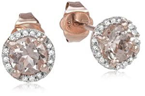 10k Rose Gold Morganite and Diamond Earrings (0.07 cttw, G-H Color I2-I3 Clarity)