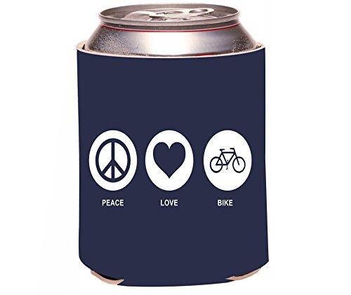 Rikki Knighttm Peace Love Bike Blue Color Design Drinks Cooler Neoprene Koozie front-567595