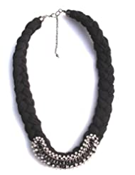 Jewel Plus Grey Necklace In Fabric With Stone And Metal Work For Women