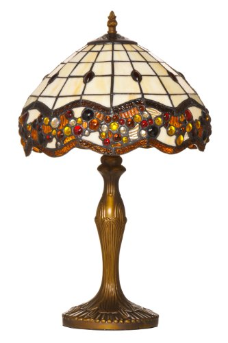 Premier Housewares Tiffany Style 49 x 31 x 31 cm Jewelled Hand Crafted Glass Table Lamp