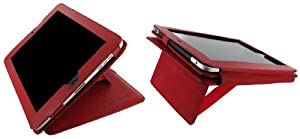 rooCASE Couture Folio Genuine Leather (Red) Case Cover for Apple iPad 3G Wi-Fi (For 1st Generation iPad, NOT for new iPad 2 release March 2011)