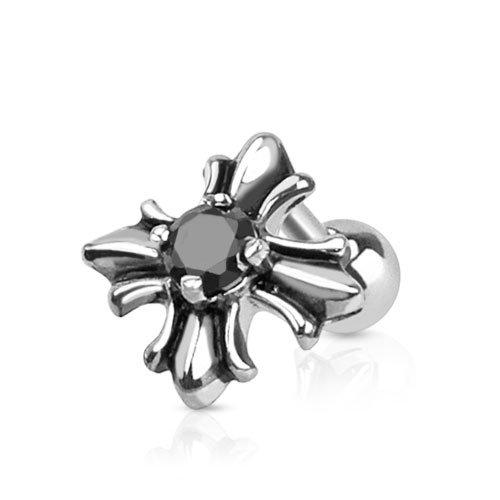Piercing Trago Helix BlackAmazament oreia Iron Cross Orecchini a forma di croce con cristallo nero orecchino