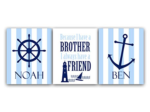 Unframed Prints (Choose Your Sizes) - Brothers Wall Art, Brothers Quote, Personalized Kids Wall Art, Kids Name Art, Twin Boys Wall Art, Boys Nautical Room Decor - Kids69