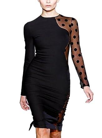 Miusol Contrast Mesh With Polka Dot Long Sleeves Pencil Elegant Dress,X-Large/US Size 12/14