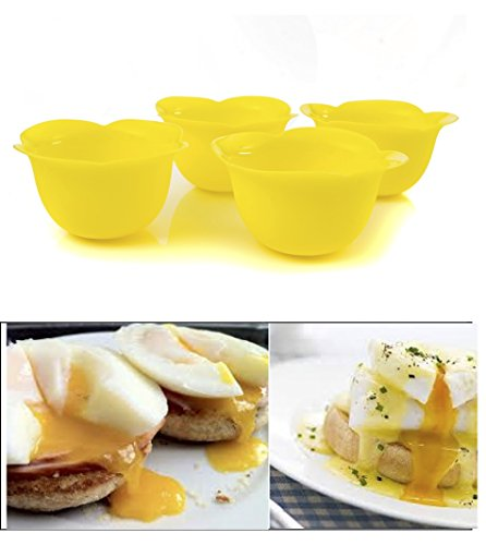 Egg Poacher Cups for Poached Sunny Side Up Runny Yolk Breakfast Eggs Silicone Set of 4 From Savvy Kitchen BPA Free Food Grade