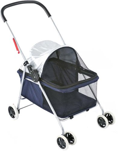 Small Blue Basket-Style Folding Pet Carrier Stroller