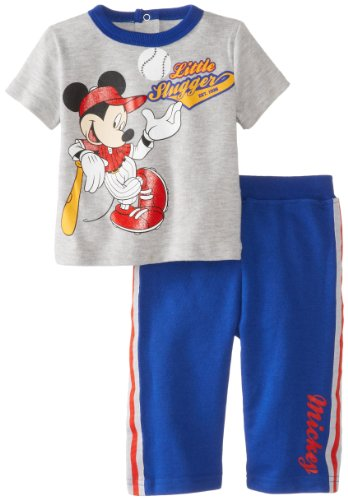 Disney Baby Baby-Boys Newborn Baseball Mickey Mouse 2 Piece French Terry Pant Set, Multi, 6-9 Months front-444789
