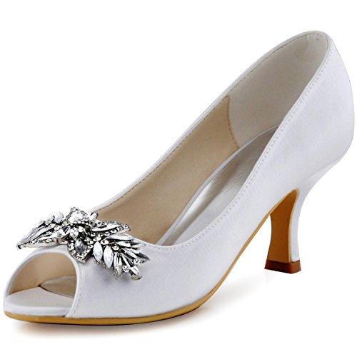 ElegantPark HP1540 Women Peep Toe Pumps Leaf Rhinestones Comfort Heel Satin Wedding Bridal Dress Shoes White US 7