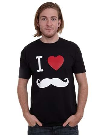 Mens I love mustache movember T-shirt, Black, Small