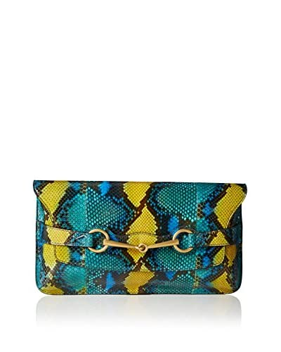 Gucci Clutch Azul Petróleo / Amarillo