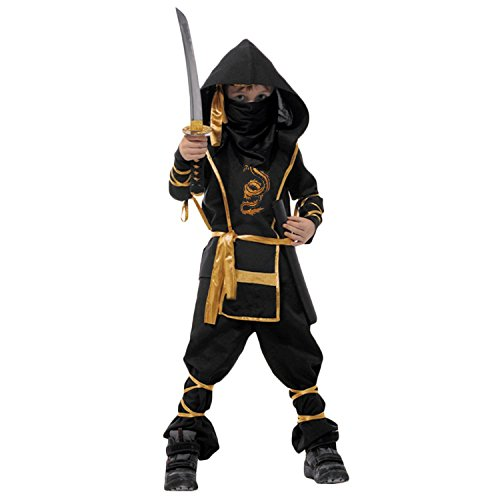 [Spring fever Child Kids Boys Ninja Halloween Costumes Fighter Stealth Hoody Toys Black Child L for] (Hot Halloween Costumes Devil)