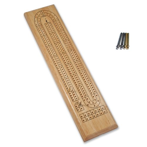 WE Games Classic Cribbage Set - Solid Wood Continuous 2 Track Board with Metal Pegs
