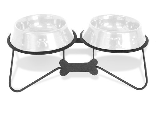 Platinum Pets Double Bone Tie Diner Stand with Two 4-Cup White No-Tip Embossed Bowls