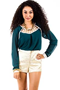 Ladderred Collar Longsleeve Blouse in Forest Green