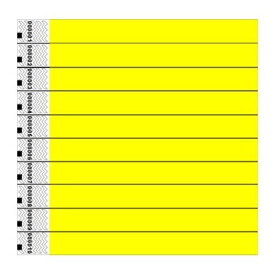Tyvek Wristbands, Plain, Yellow, 100 Pack