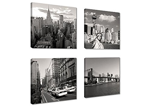 Canvas Print for Home Decoration 4 Panels New York City Landmark Painting Wall Art Picture Print on Canvas - High Definition Modern Giclee Artwork (Paint New York compare prices)