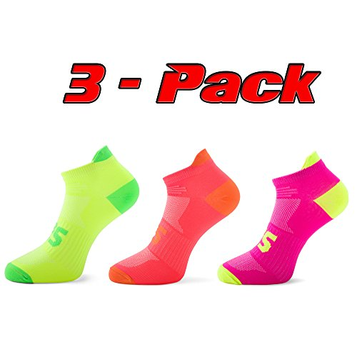 SLS3 unisex Performance Blister Resist Light Running Socks low cut Coolmax (M, 3-Pack Yellow/Orange/Pink)