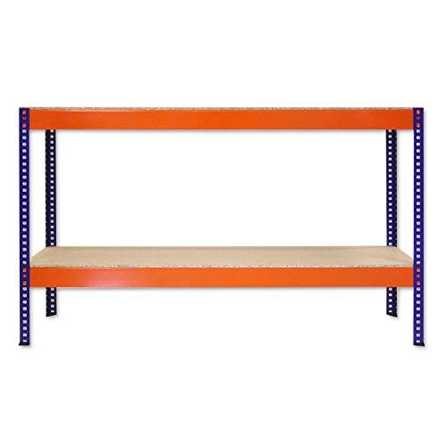 Regal-fr-Lager-Keller-Werkstatt-Garage-Fachbodenregal-Schwerlastregal-BIGFOOT-350-2ZR-blau-orange