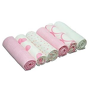 Abrazos - cuadrados de muselina - Rosa de con dibujos ((6 unidades)
