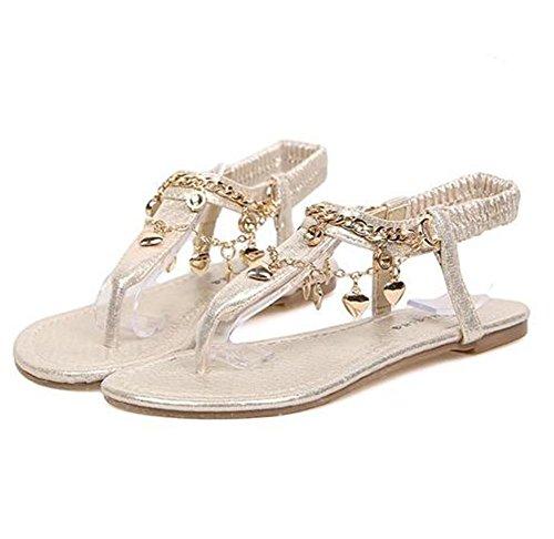 YMXJB Piccoli cunei di moda diamante ciondolo toe sandali pantofole donna , gold , 35