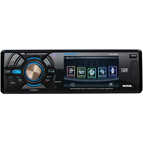 Ssl Sd322B In-Dash Single-Din 3.2-Inch Motorized Detachable Touchscreen Dvd/Cd/Usb/Sd/Mp4/Mp3 Player Receiver Bluetooth Streaming Bluetooth Hands-Free With Remote