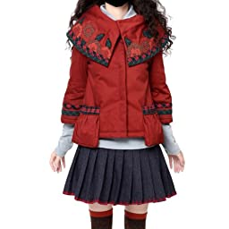 Artka Women\'s Patchwork Embroidery Big Lapel Quilted Jacket,Burgundy Red,M