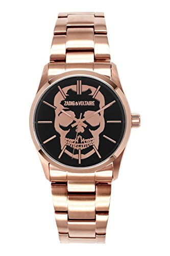 Zadig Voltaire ZV &007T/2AM Rock Unisex Watch Analogue Quartz Black Dial Steel Strap-Plated Pink
