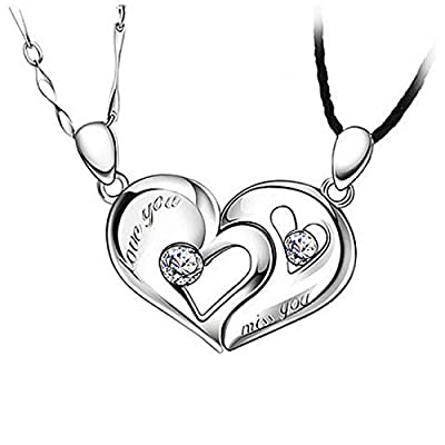 "Heart Shaped ""Together"" Stirling Silver Couples Pendants"