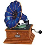 "3.5"" Blue Musical Hand Crank with Gramophone Record Player Figurine"