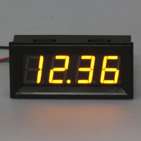 Riorand Digital Voltmeter Gauge Dc 0-33V 12V Car Battery Volt Meter Yellow Led Display, Two-Wire